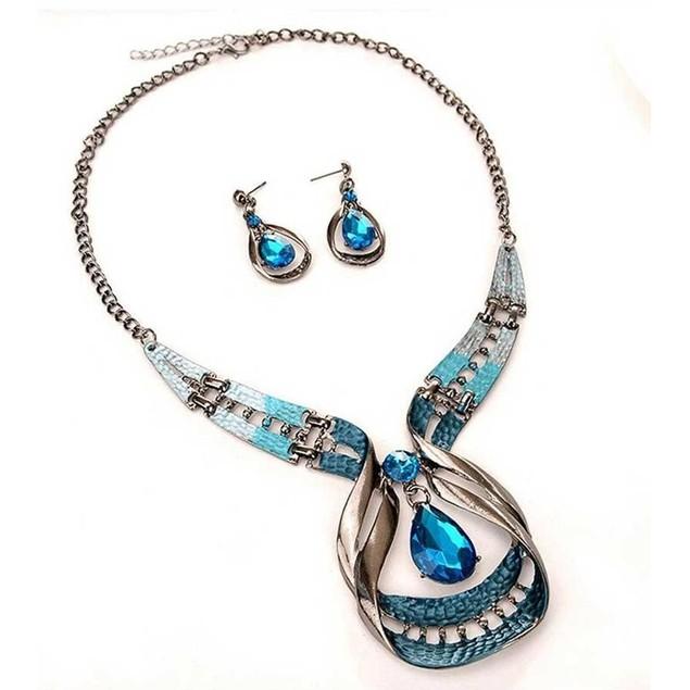 Novadab Blue Wave Crystal Droplet Statement Necklace & Teardrop Earrings