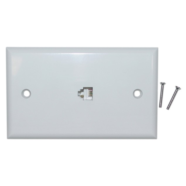 2 Line Telephone Wall Plate, White, RJ11, 4 Conductor