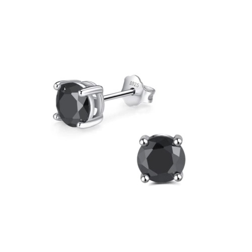 Sterling Silver Round 6mm Black Cubic Zircon Stud Earrings