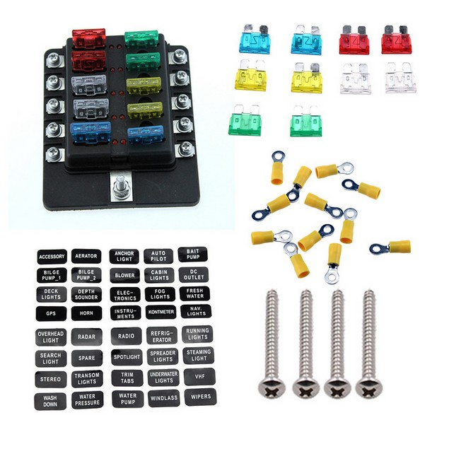 100A 10 Way LED indicates  Blade Fuse Box Block Holder Standard ATO