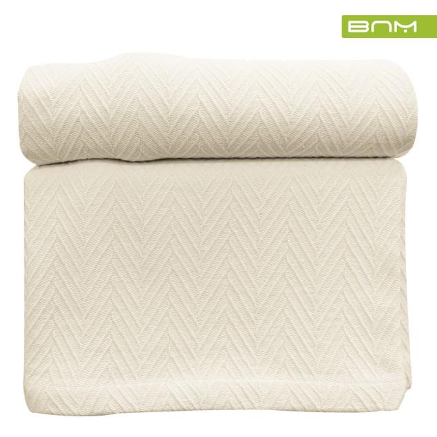 All Season Cotton Geometric Chevron Blanket by Blue Nile Mills
