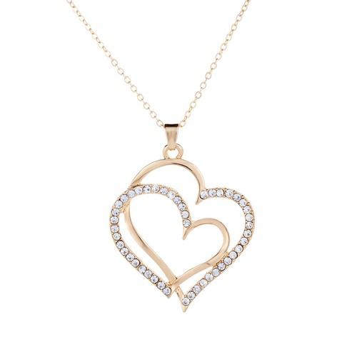 Love Mom 14K Gold  Heart Together Necklace