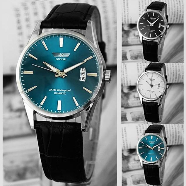 Fashion Luxury Black Leather Strap Calendar Quartz Mens Date Wrist Watch
