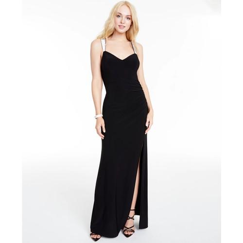 B Darlin Junior's Rhinestone Strap Draped Back Gown Black Size 0