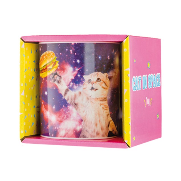 Cat In Space Mug Kitty Meow Cheezburger Cheeseburger Ceramic Coffee 11 oz