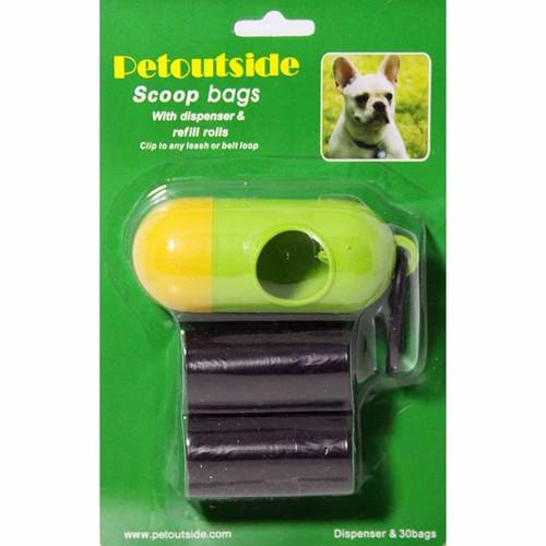 Kit of 30 DOG PET WASTE POOP BAGS with DISPENSER Petoutside USA