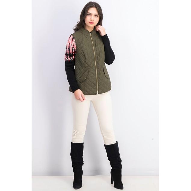 Charter Club Wiomen's Quilted Stand-Collar Vest Dark Green Size Medium