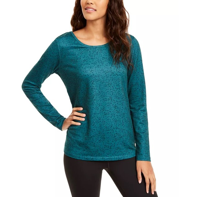 Ideology Women's Printed Cutout Back Top Green Size XX-Large