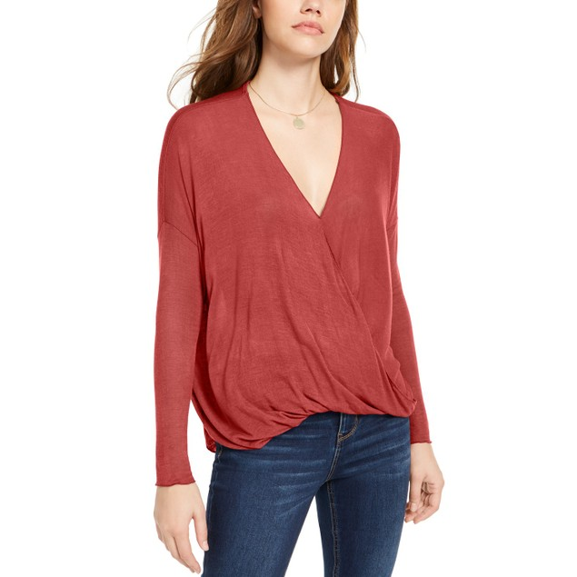 Polly & Esther Juniors' Surplice-Neck Top Dark Red Size Small