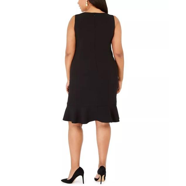 Kasper Women's Plus Size Scalloped-Flounce Sheath Dress Black Size 20