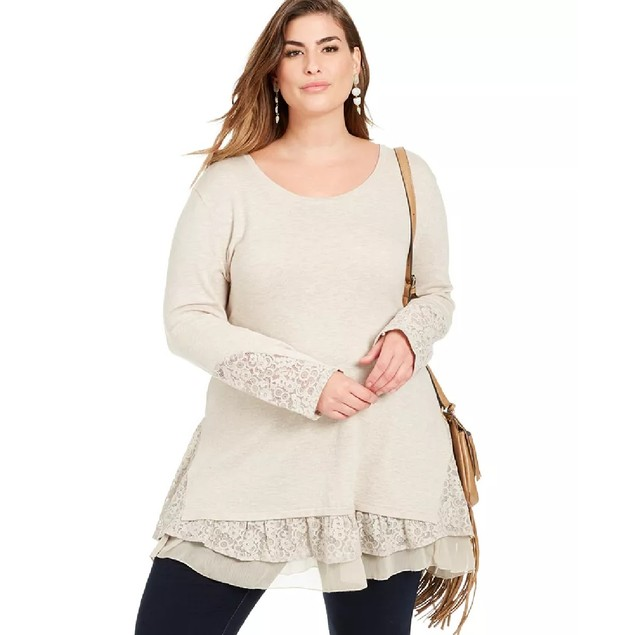 Style & Co Women's Lace-Trim Tiered Tunic Beige Size Large