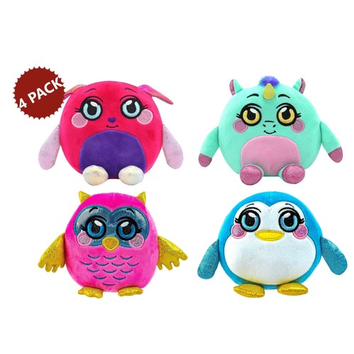 4-PACK Mushmeez Squeezy Squishy Moldable Soft Plush Stuffed Animals,