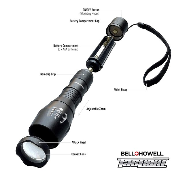 2-PACK Bell + Howell Taclight Pro Lantern + Flashlight with Zoom