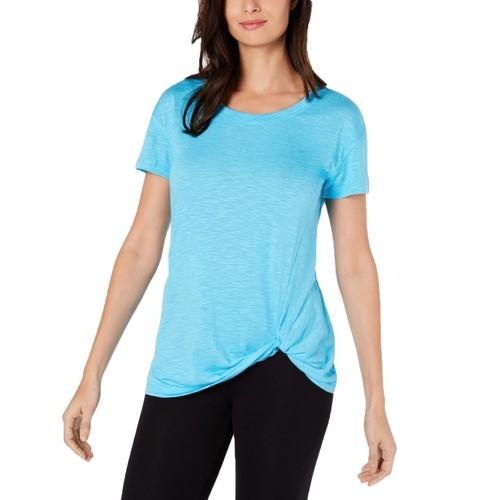 Ideology Women's Knot-Front T-Shirt Aqua Size Extra Small