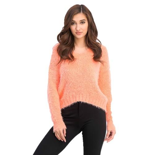 Freshman Juniors' Fuzzy V-Neck Sweater Orange Size Large