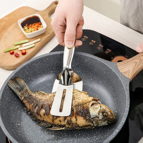 Kitchen Stainless Steel Food Frying Spatula Clamp