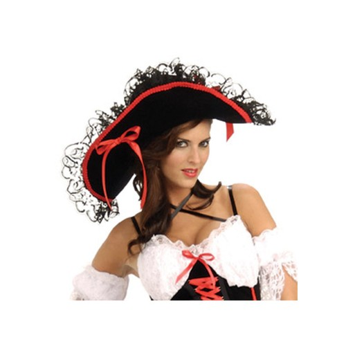 Queen of the Sea Hat Women's Pirate Swashbuckler Maiden Black Lace Red Trim