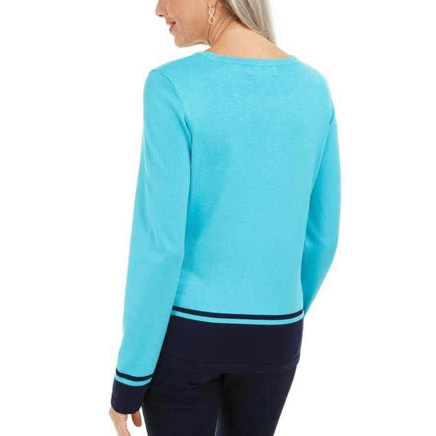 Karen Scott Women's Colorblocked-Hem Sweater Bright Red Size X-Small