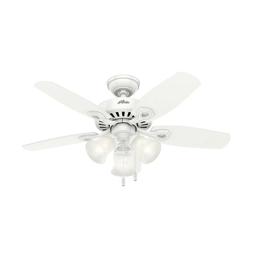 """Hunter 42"""" Indoor Snow Builder Small Room Ceiling Fan with Light Kit, White"""