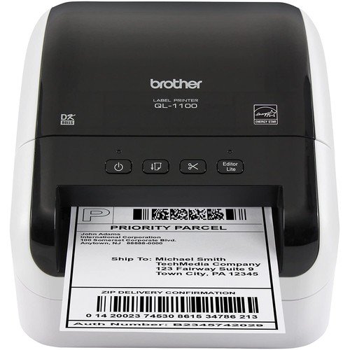 Brothers Brother QL-1100 Wide Format, Postage and Barcode Professional Thermal Label Printer, Black