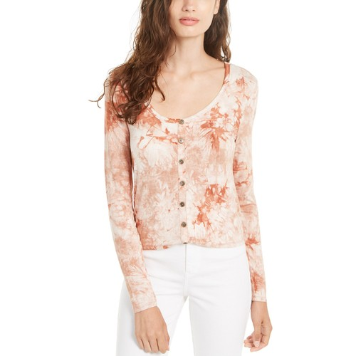 Self Esteem Women's Long-Sleeve Tie-Dye Top Brown Size Medium