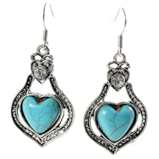 Novadab Antique Turquoise Drop Heart Dangle Women Earrings