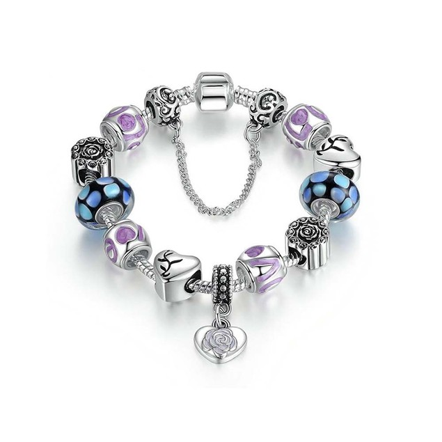 18kt White Gold Plated Murano Glass And Heart Charm Bracelet