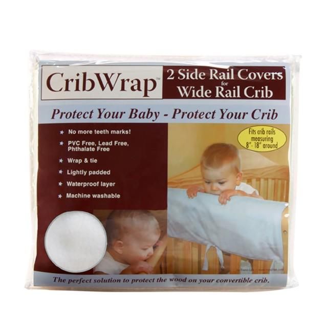 Trend Lab Cribwrap Wide Rail Cover - 2 Short White Fleece