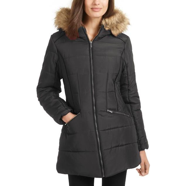 Celebrity Pink Juniors' Faux-Fur-Trim Hooded Puffer Coat Black 3XL