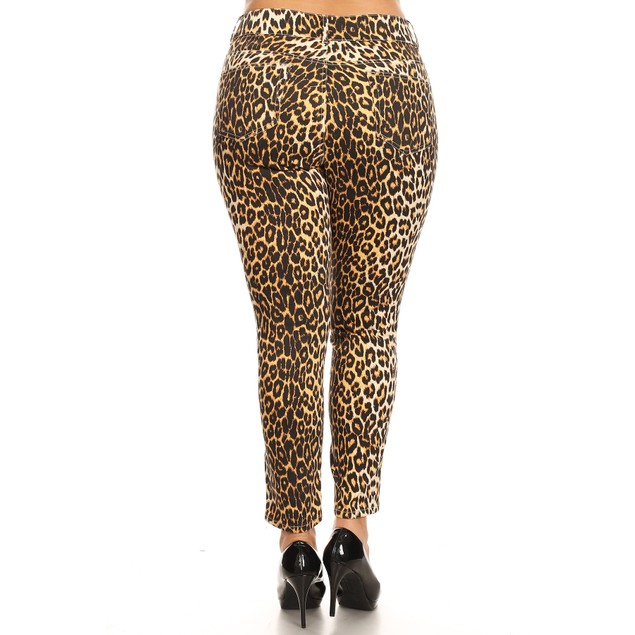 Plus Size Printed Stretchy Denim Pants