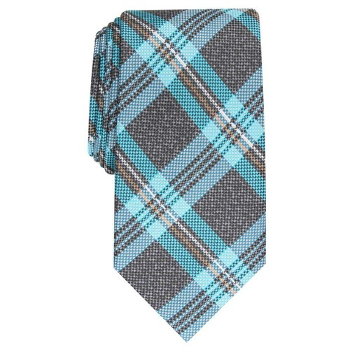 Perry Ellis Men's Duxbury Plaid Tie Black Size Regular