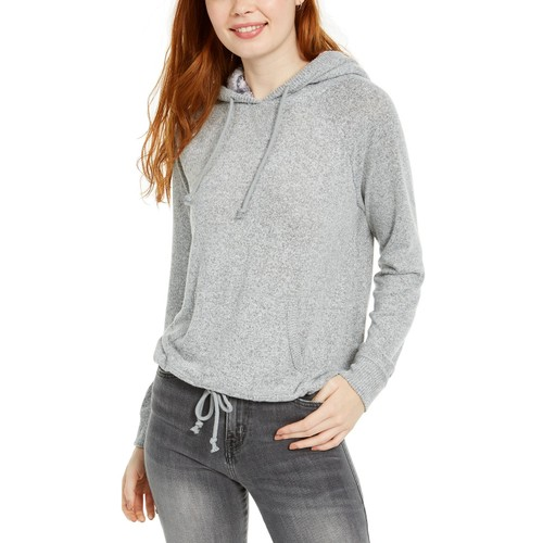 Ultra Flirt Juniors' Sherpa Lined Hoodie Gray Size Extra Large