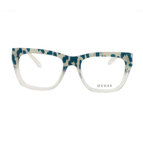 Guess Women's Eyeglasses GU 2595 089 Blue/Leopard Crystal 52 18 135 Full Rim