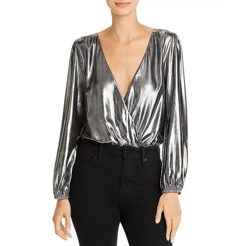 French Connection Women's Metallic Bodysuit Silver Size 8