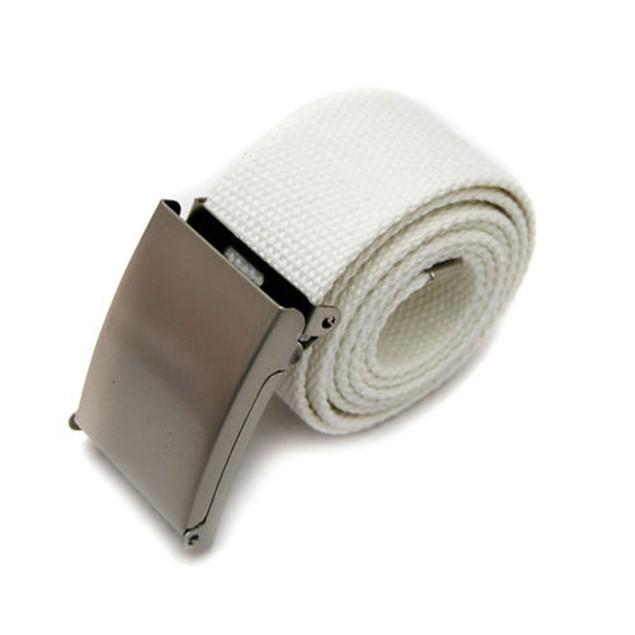 Unisex Canvas Metal Buckle Plain Webbing Business Casual Belt Strap