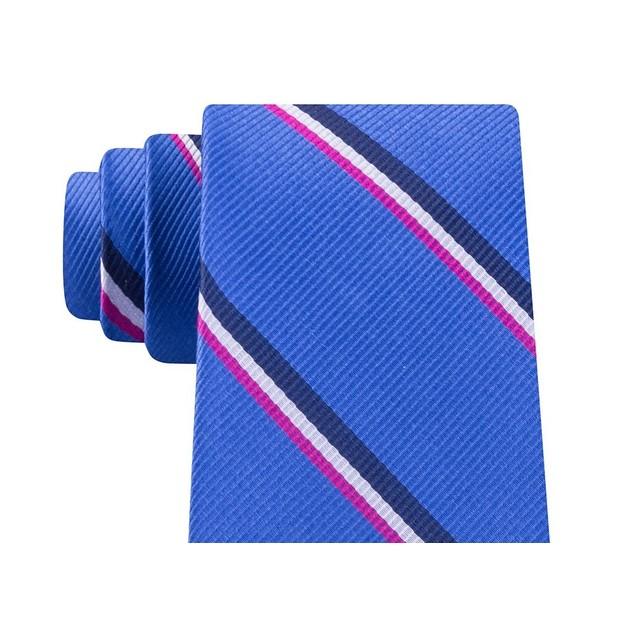 Tommy Hilfiger Men's Bronx Stripe Silk Tie Navy Size Regular