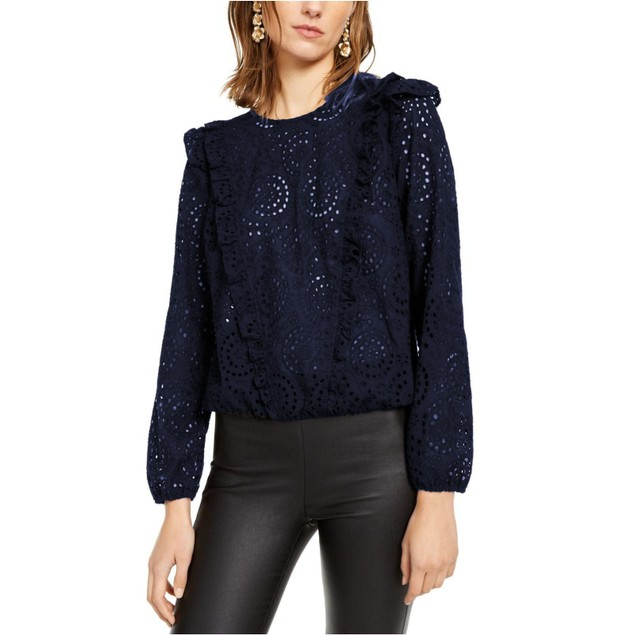 INC International Concepts Women's  Ruffled Eyelet Top Navy Size Small