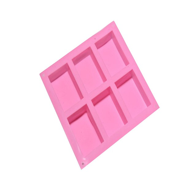 Homemade Craft Soap Mold 6 Cavity Plain Basic Rectangle Silicone Mould