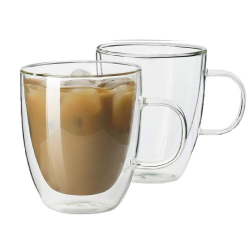 Homvare Glass Mug for Both Hot and Cold Beverage - 12 oz