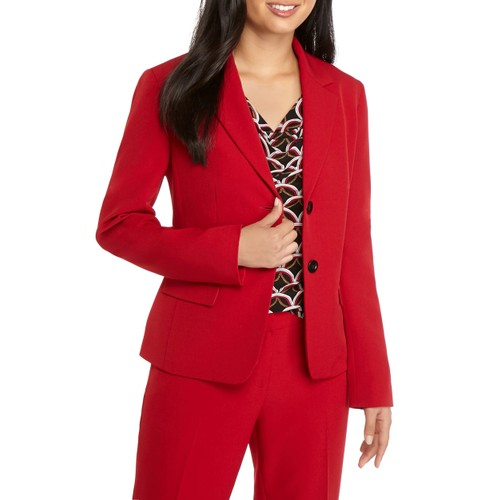 Kasper Women's Plus 2 Button Solid Jacket Red Size 24W