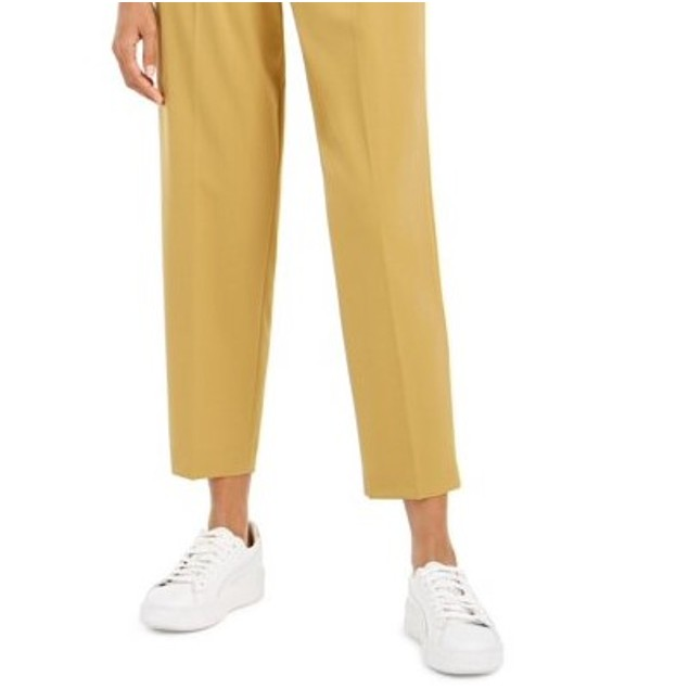 Bar III Women's Button-Front Pleated Pants Brght Yellow Size 4