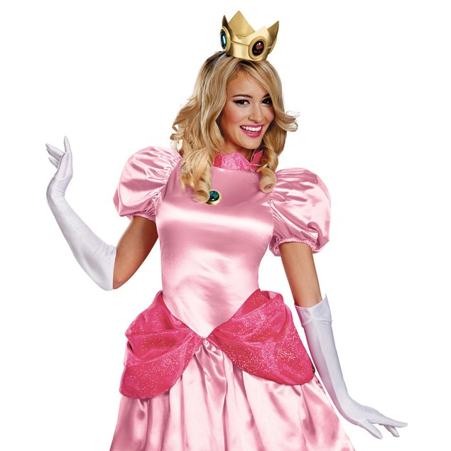 Princess Peach Adult Accessory Kit Womens Girls Crown Gloves Amulet Jewel