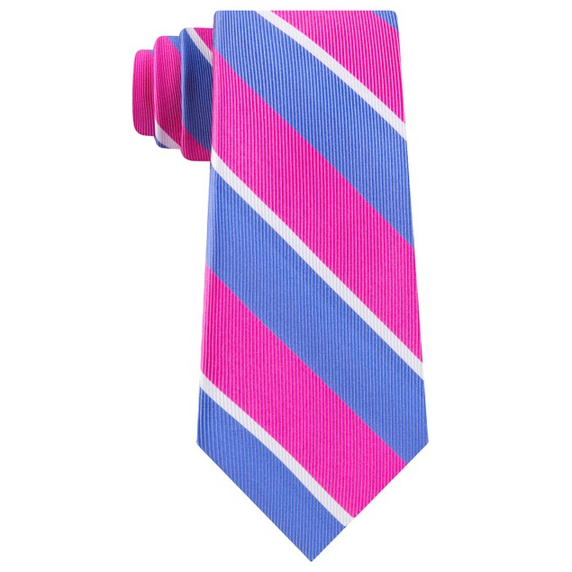 Tommy Hilfiger Men's Bright Medium Stripe Tie Pink Size Regular