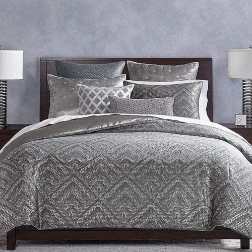 Hudson Park Collection Woven Diamond Comforter Duvet Cover, King, Gray