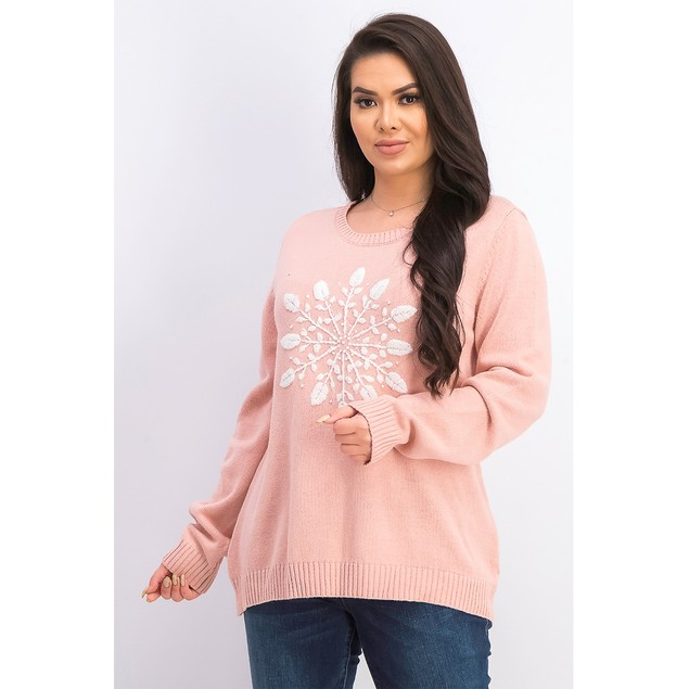 Karen Scott Women's Snowflake Applique Sweater Pink Size XX Large