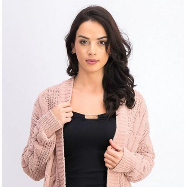 Ultra Flirt Juniors' Mixed-Knit Chenille Cardigan Pink Size Extra Large