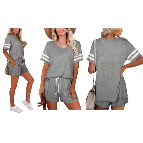 Haute Edition Varsity Striped Pajama Lounge Short Set