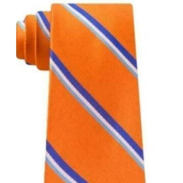 Tommy Hilfiger Men's Bronx Stripe Silk Tie Orange Size Regular