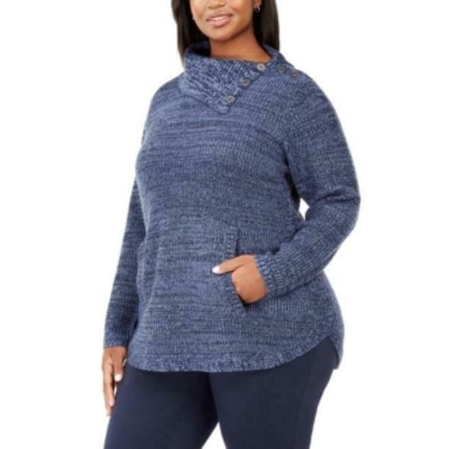 Style & Co Women's Plus Size Button-Trim Sweater Blue Size XX-Large