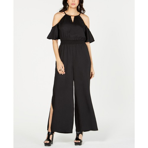 Thalia Sodi Women's Cold-Shoulder Wide-Leg Jumpsuit Black Size Small